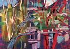 Image of an intricate, vibrant, almost abstract painting of trees by Saule Suleimenova.