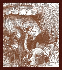 Drawing by Natalie Davis of dogs fleeing from a giant human mouth.
