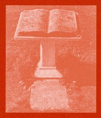 Photo of a missal stand holding a large book.