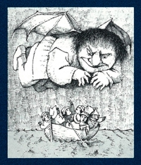 Drawing by Maurice Sendak of a flying giant smiling sinisterly over a crowded boat of scared people.