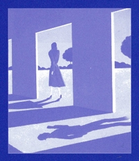 Painting of a walking woman unknowingly being followed by the shadow of a man.