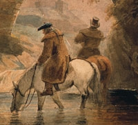Image of a painting of two Scottish men watering their horses.